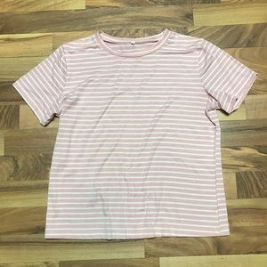Tops - Pink White Striped Short Sleeve T Shirt